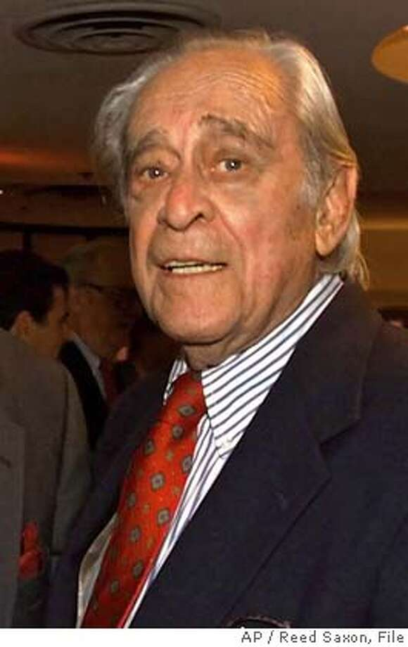 "** FILE ** Louis Nye is seen at the Friars Club of Californiain in a file photo from Aug. 18, 2000, in Beverly Hills, Calif. Nye, who created a national catchphrase belting out ""Hi Ho, Steverino"" as one of the stock players on Steve Allen's groundbreaking 1950s TV show, died Sunday, Oct. 9, 2005, at his home in Los Angeles. He was 92. (AP Photo/Reed Saxon, File) AUG 18, 2000 FILE PHOTO Photo: REED SAXON"