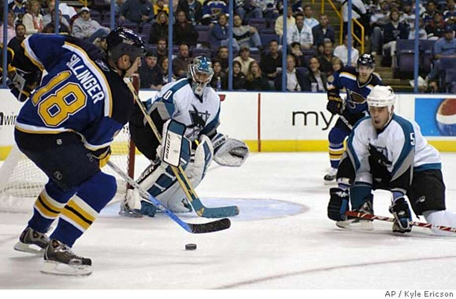 St. Louis Blues' Mike Sillinger, left, makes a pass to Petr Cajanek, second from right, of Czech Republic, in front of San Jose Sharks' goaltender Evgeni Nabokov, of Kazakhstan, and Rob Davison, right, on Saturday, Oct. 8, 2005, at the Savvis Center in St. Louis. (AP Photo/Kyle Ericson) Photo: KYLE ERICSON