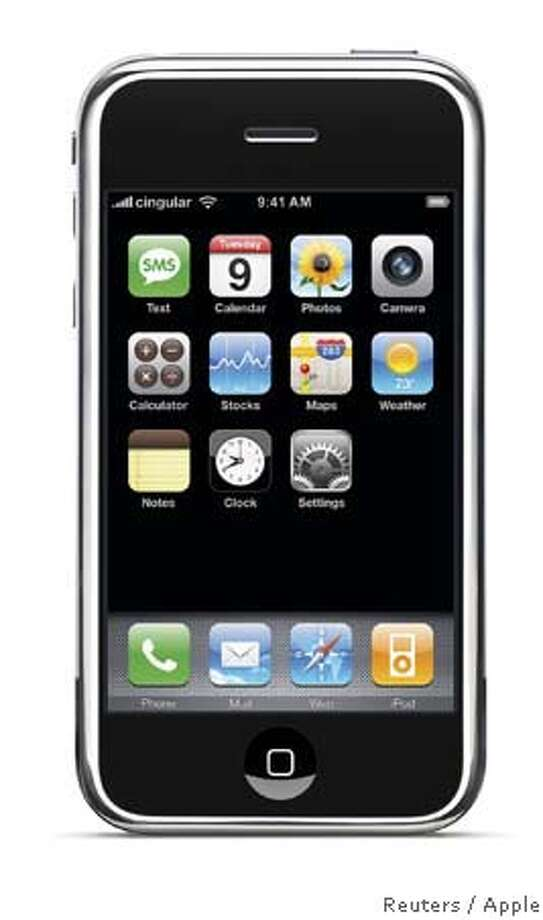 Apple's new iPhone is seen in this handout photo released January 9, 2007. Apple unveiled an eagerly-anticipated iPod mobile phone with a touch-screen on Tuesday, priced at $599 for 8 gigabytes of memory, pushing the company's shares up as much as 8.5 percent. Chief Executive Steve Jobs said the iPhone, which also will be available in a 4-gigabyte model for $499, will ship in June in the United States. The phones will be available in Europe in the fourth quarter and in Asia in 2008. EDITORIAL USE ONLY NO SALES NO ARCHIVES MANDATORY CREDIT REUTERS/Apple/Handout (UNITED STATES)  Ran on: 01-15-2007 ALSO Ran on: 01-16-2007  Apple's iPhone faces tough rivals, especially because of its price. Photo: HO