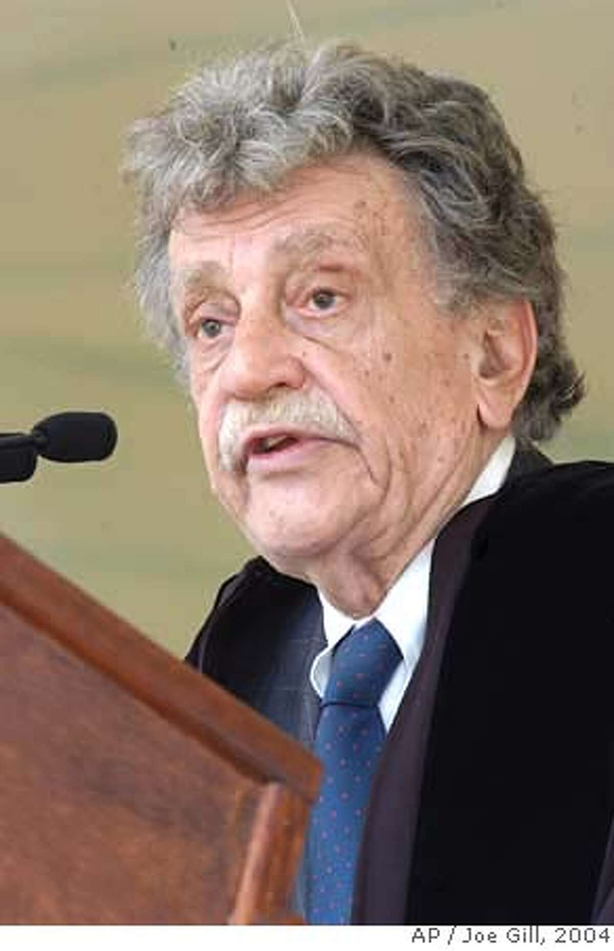 """**FILE**Author Kurt Vonnegut gives the commencement address at Lehigh University's 136th Commencement in Bethlehem, Pa.,in a May 24, 2004, file photo. Kurt Vonnegut, the satirical novelist who captured the absurdity of war and questioned the advances of science in darkly humorous works such as """"Slaughterhouse-Five"""" and """"Cat's Cradle,"""" died Wednesday, April 11, 2007, at age 84, his wife said.(AP Photo/The Express-Times, Joe Gill-File)"""