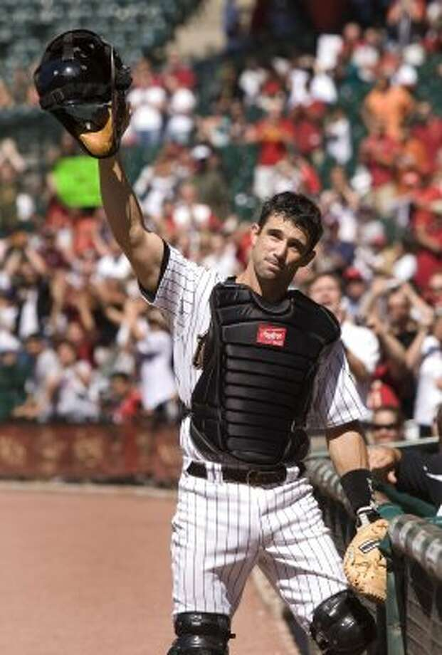 49. Brad Ausmus, C  (1997-1998, 2002-2008).246/.318/.327 batting line with 41 HRs, 386 RBIs, 415 Rs, 51 SBs and 6.8 Wins Above Replacement in 1,259 games. The WAR metric does a poor job of measuring a catcher's defensive contributions; stabilizing influence for a lot of good Astros teams. (Brett Coomer / Houston Chronicle)