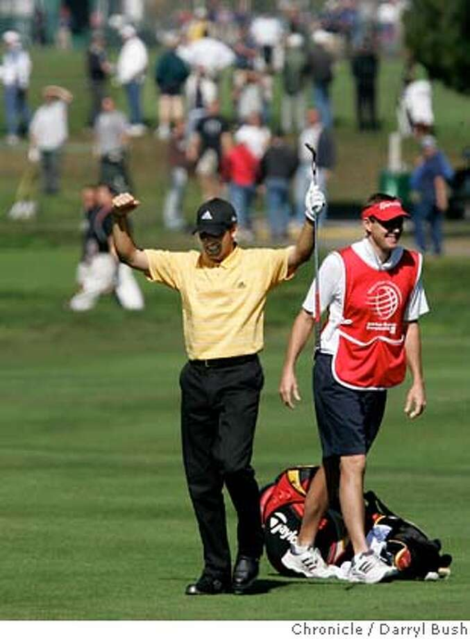 AMEXgolf_0042_db.jpg  Sergio Garcia celebrates his eagle after holing his second shot on the 7th hole at the American Express Championship at Harding Park Golf Course.  Event on 10/9/05 in San Francisco.  Darryl Bush / The Chronicle MANDATORY CREDIT FOR PHOTOG AND SF CHRONICLE/ -MAGS OUT Photo: Darryl Bush