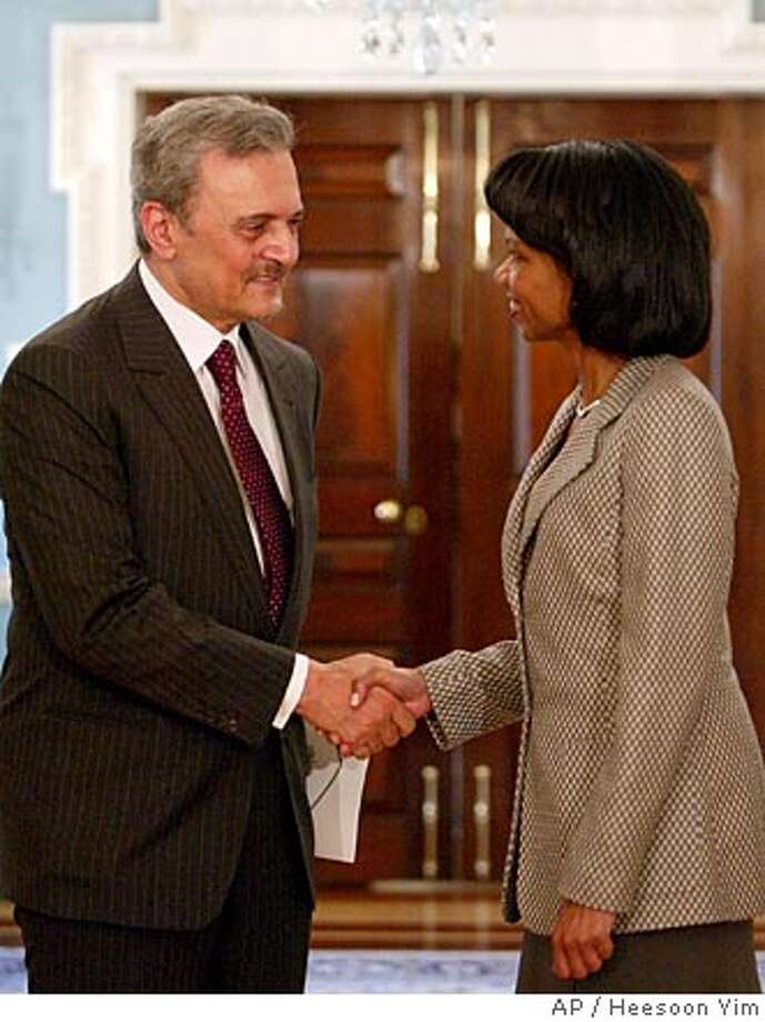 U.S. Secretary of State Condoleezza Rice, right, greets Saudi Foreign Minister Prince Saud prior to their meeting at the State Department in Washington, Thursday, Sept. 22, 2005. (AP Photo/Heesoon Yim) Photo: HEESOON YIM