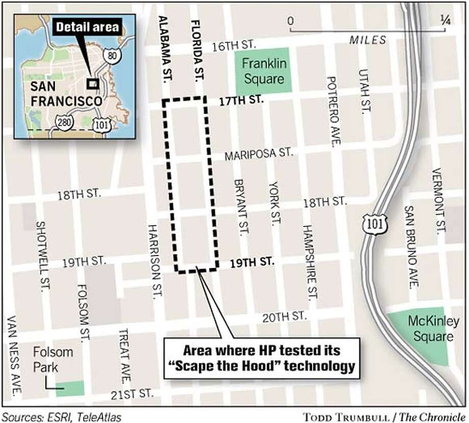 """Area Where HP Tested Its """"Scrape the Hood"""" Technology. Chronicle graphic by Todd Trumbull"""