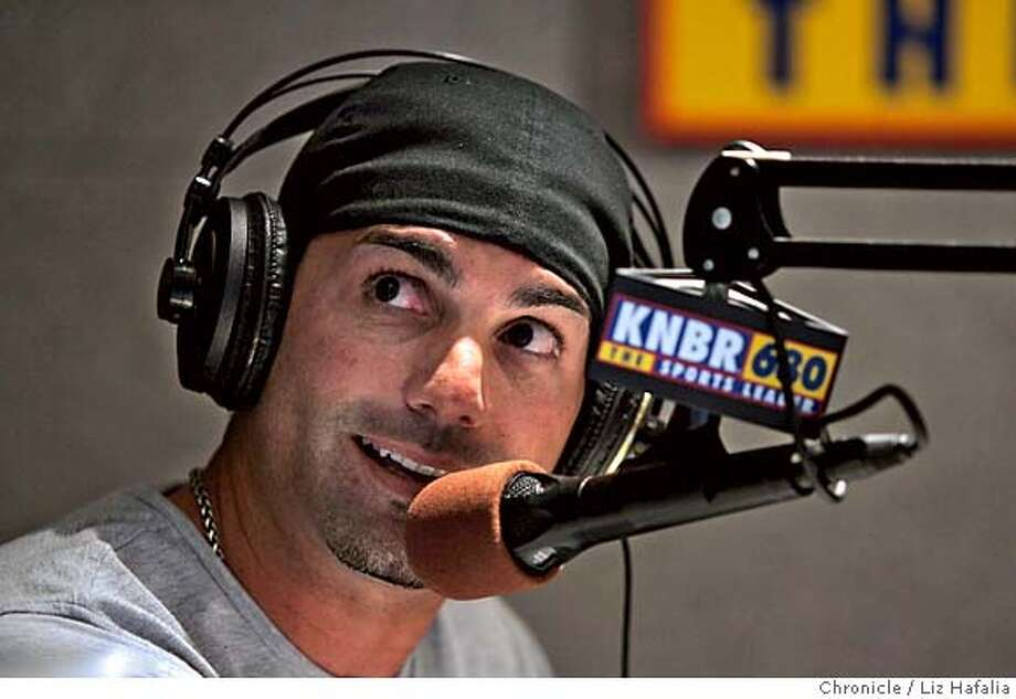 SANTANGELO11_030_LH.JPG When F.P. Santangelo is on KNBR sports talk radio, he wakes up his listeners with advice on love, dating, and tipping them off to where the actual Giants players might be hanging out when his show is done. Photographed by Liz Hafalia on 10/7/05 in San Francisco, California. SFC Creditted to the San Francisco Chronicle/Liz Hafalia Photo: Liz Hafalia