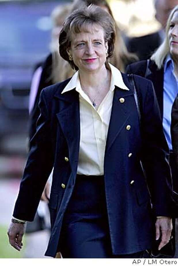 Supreme Court Justice nominee Harriet Miers arrives for church services at the Episcopal Church of the Incarnation in Dallas, Sunday, Oct. 9, 2005. (AP Photo/LM Otero) Photo: LM OTERO