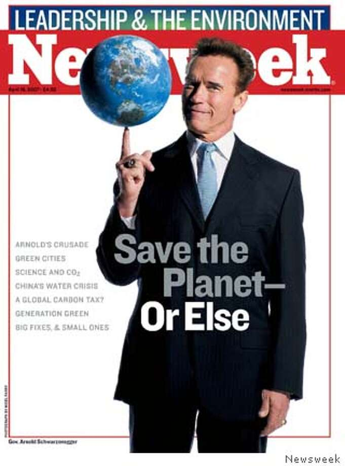 "In the April 16 issue of Newsweek (on newsstands Monday, April 9): ""Save the Planet-Or Else."" Newsweek talks to Calif. Gov. Arnold Schwarzenegger about how he's taken the lead in the battle against global warming. Plus: green cities; science and carbon dioxide emissions; how a younger generation of activists are speaking up; big and small fixes that anyone can make. Plus: Alberto Gonzales preps for testimony; Is Mitt Romney ready for primetime politics and the thriving market for pet medications. (PRNewsFoto/NEWSWEEK)"
