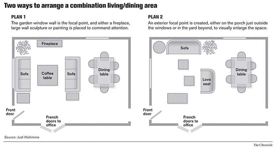 Two Ways to Arrange a Combination Living/Dining Area. Chronicle Graphic