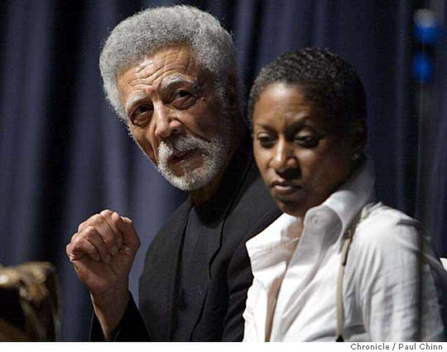 Former East Bay congressman Ron Dellums, with his wife Cynthia Lewis Dellums at his side, announced his candidacy for mayor of Oakland during an energetic gathering at Laney College on 10/7/05 in Oakland, Calif.  PAUL CHINN/The Chronicle Photo: PAUL CHINN