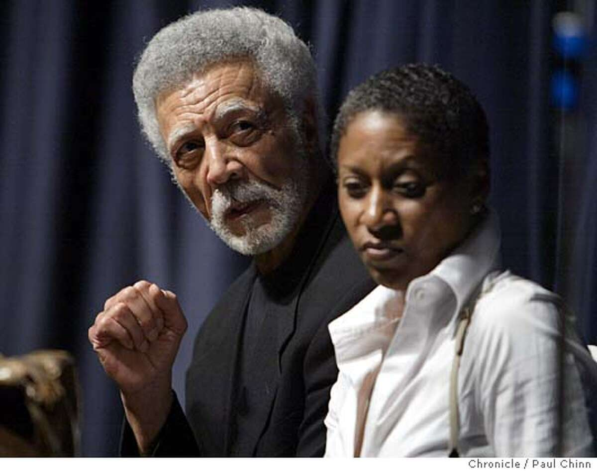 Former East Bay congressman Ron Dellums, with his wife Cynthia Lewis Dellums at his side, announced his candidacy for mayor of Oakland during an energetic gathering at Laney College on 10/7/05 in Oakland, Calif. PAUL CHINN/The Chronicle