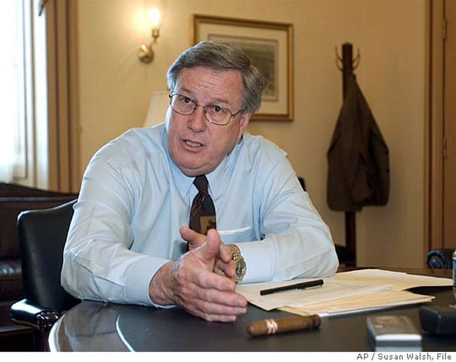 """Rep. Bill Thomas, R-Calif., is shown in his Capitol Hill office in Washington, Tuesday, May 20, 2003. When asked whether he would be able to finish work on a large tax cut before Memorial Day, Thomas had a question of his own: """"How many times have I failed in my job?"""" (AP Photo/Susan Walsh/ File) also ran 07/19/03, 7/22/2003 07/24/03, 09/23/2004 Ran on: 04-15-2005  Fred Korematsu Ran on: 04-15-2005  Fred Korematsu Ran on: 04-30-2005  Rep. Bill Thomas of Bakersfield wants to change more than just Social Security. Ran on: 04-30-2005  Rep. Bill Thomas of Bakersfield wants to change more than just Social Security. Ran on: 05-12-2005  Rep. Bill Thomas of Bakersfield chairs the powerful House Ways and Means Committee. Ran on: 05-12-2005  Rep. Bill Thomas of Bakersfield chairs the powerful House Ways and Means Committee. Ran on: 05-26-2005  Sen. Charles Grassley Nation#MainNews#Chronicle#9/23/2004#ALL#5star##0421223621 Ran on: 06-20-2005  Sen. Charles Grassley had hoped to focus on shoring up Social Security's solvency. Ran on: 06-20-2005  Sen. Charles Grassley had hoped to focus on shoring up Social Security's solvency. Ran on: 09-30-2005  Herger Ran on: 10-08-2005  Bill Thomas, R-Bakers- field, defended Republicans' tactics on the House floor when he was asked to quiet down, saying, &quo;Why should we let them (Democrats) have all the fun?&quo; Ran on: 10-08-2005  Bill Thomas, R-Bakers- field, defended Republicans' tactics on the House floor when he was asked to quiet down, saying, &quo;Why should we let them (Democrats) have all the fun?&quo; Ran on: 10-08-2005  Bill Thomas, R-Bakers- field, defended Republicans' tactics on the House floor when he was asked to quiet down, saying, &quo;Why should we let them (Democrats) have all the fun?&quo; Photo: SUSAN WALSH"""