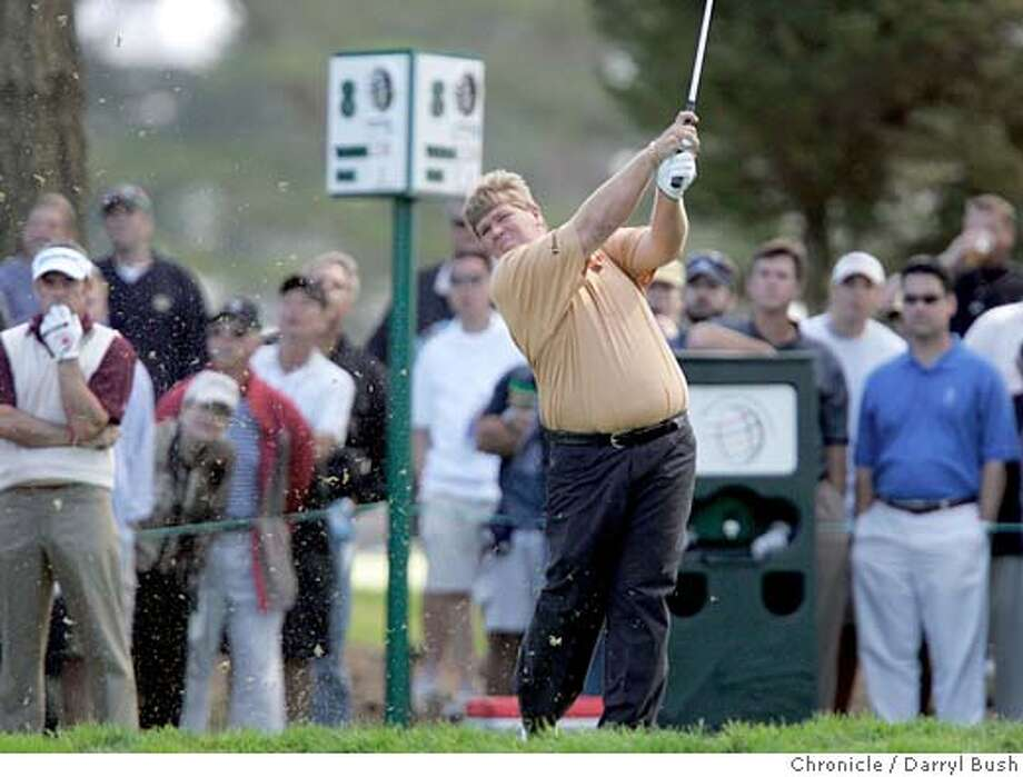 AMEXharding_014_db.jpg  John Daly tees off on the 8th hole at the American Express Championship at Harding Park Golf Course.  Event on 10/6/05 in San Francisco.  Darryl Bush / The Chronicle MANDATORY CREDIT FOR PHOTOG AND SF CHRONICLE/ -MAGS OUT Photo: Darryl Bush
