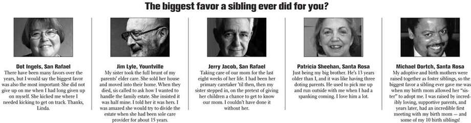 The biggest favor a sibling ever did for you?