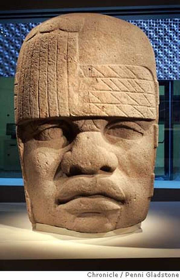 DEYOUNG06_0025_PG.JPG Olmec head on loan from Mexico for one yr  galleries with art installed for review of new De Young Museum, plus podcast San Francisco Chronicle, Penni Gladstone  Photo taken on 10/4/05, in San Francisco, Photo: Penni Gladstone