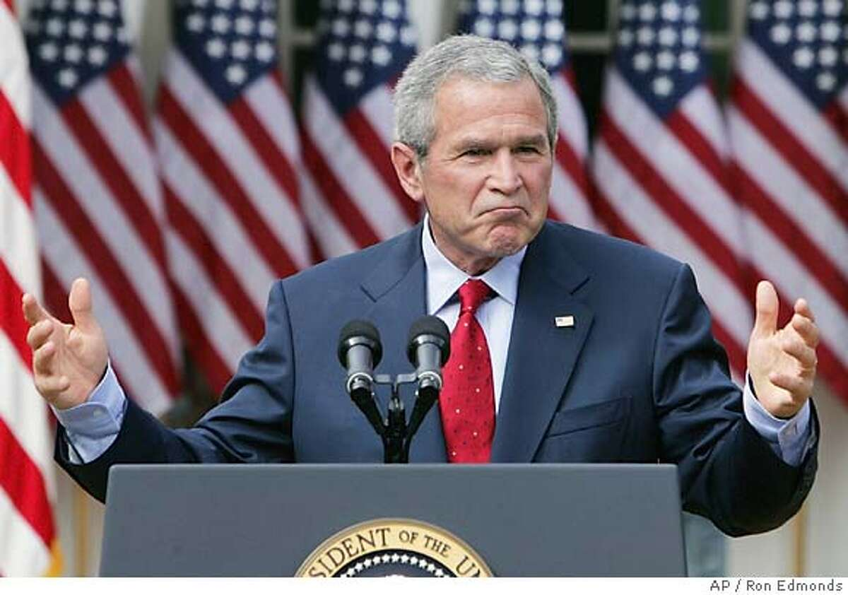 President Bush speaks during a news conference, Tuesday, Oct. 4, 2005, in the Rose Garden at the White House. In the face of criticism from the left and right, Bush insisted Tuesday that Harriet Miers is the best-qualified candidate for the Supreme Court. (AP Photo/Ron Edmonds)