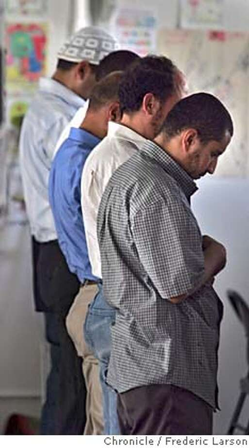 FASTING_0037_fl.jpg At the S.F Islamic Society of San Francisco (Jone Street in San Francisco) a small group of men came to pray on the eve of Ramadan. Islamic begin their fasting which is a sign of faith for many religious groups, including Muslim, Jews and Christians. Muslims' month-long practice of fasting during the day to cleanse their bodies and minds. 10/5/05 San Francisco CA Frederic Larson The San Francisco Chronicle Photo: Frederic Larson