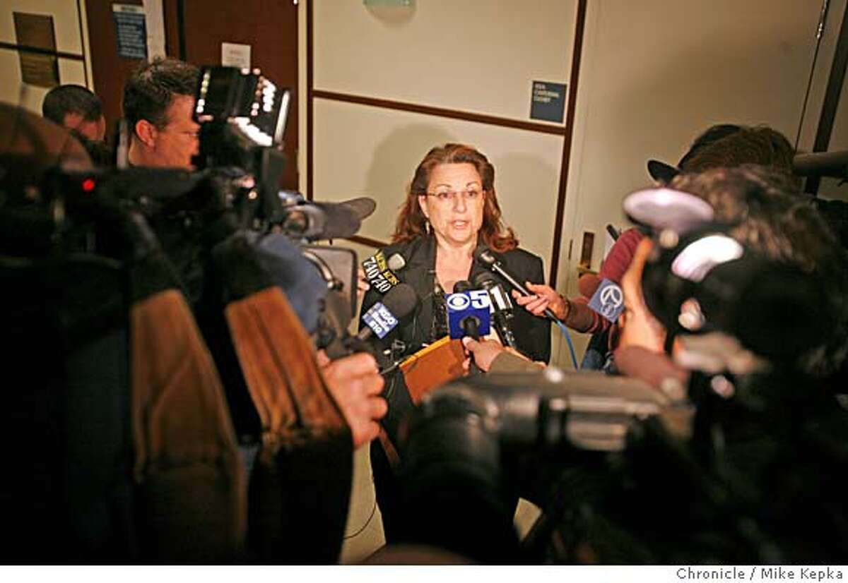 Melissa McKowan, Prosecutor for the William Ayres case talks outside the San Mateo County Superior court house in Redwood City, CA after Ayres arraignment on 4/6/07. MIKE KEPKA / The Chronicle Melissa McKowan William Ayres (cq) the court docket