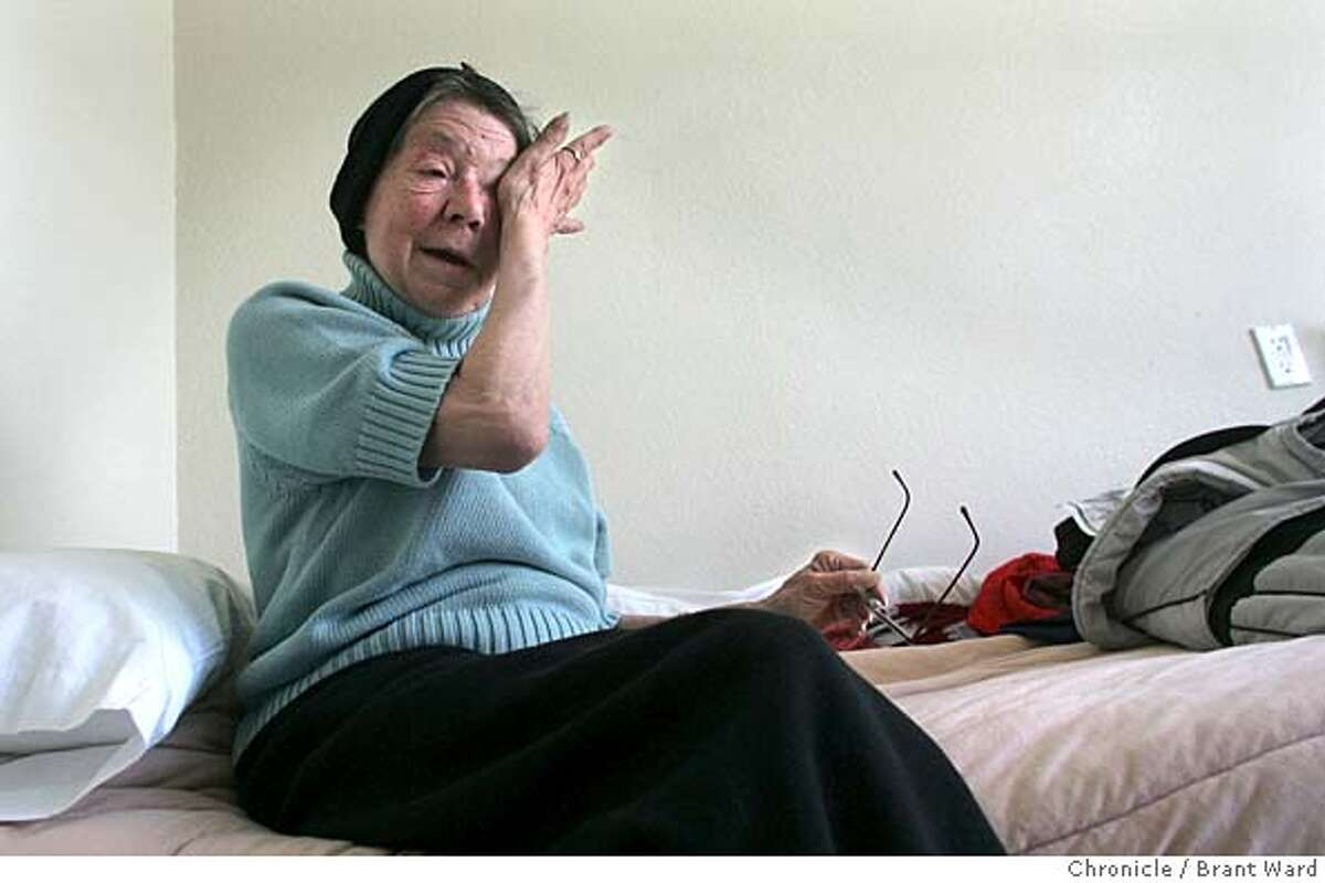 oldhomeless063_ward.jpg Mary Mallaro wiped a tear from her eye as she recalled her life before getting inside. She sits on her bed in her new room. A hotel on Howard Street in San Francisco is part of a new effort to house formerly homeless senior citizens. Mary Mallaro, 62, was living in homeless shelters before she was able to use her Social Security to get into the Raman Hotel, where she is quite happy. Brant Ward 10/5/05