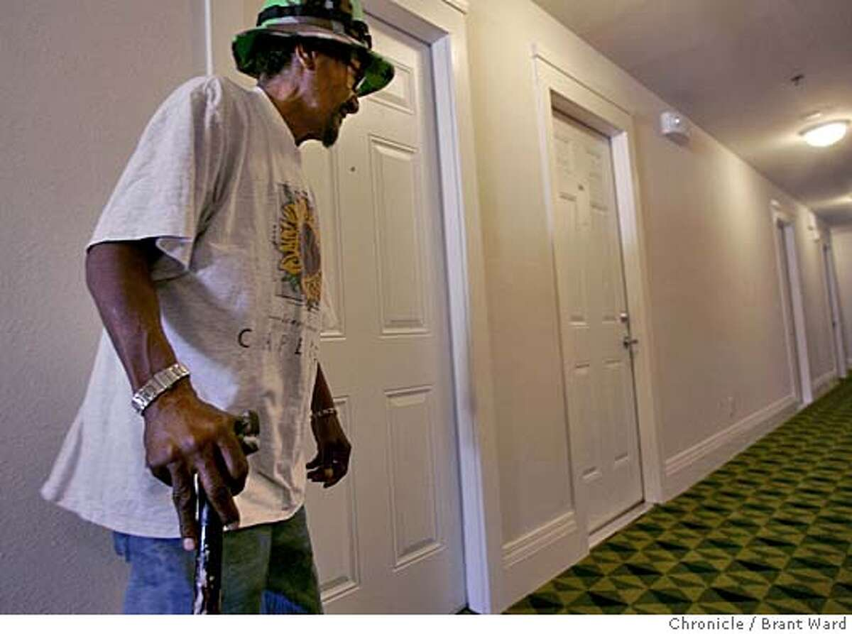 oldhomeless067_ward.jpg Andrew Horton, 62, is one of the seniors lucky to get into the Raman Hotel on Howard Street. He was homeless for almost eight months before he got inside. Here he heads down the freshly painted hall from his room. A hotel on Howard Street in San Francisco is part of a new effort to house formerly homeless senior citizens. Brant Ward 10/5/05