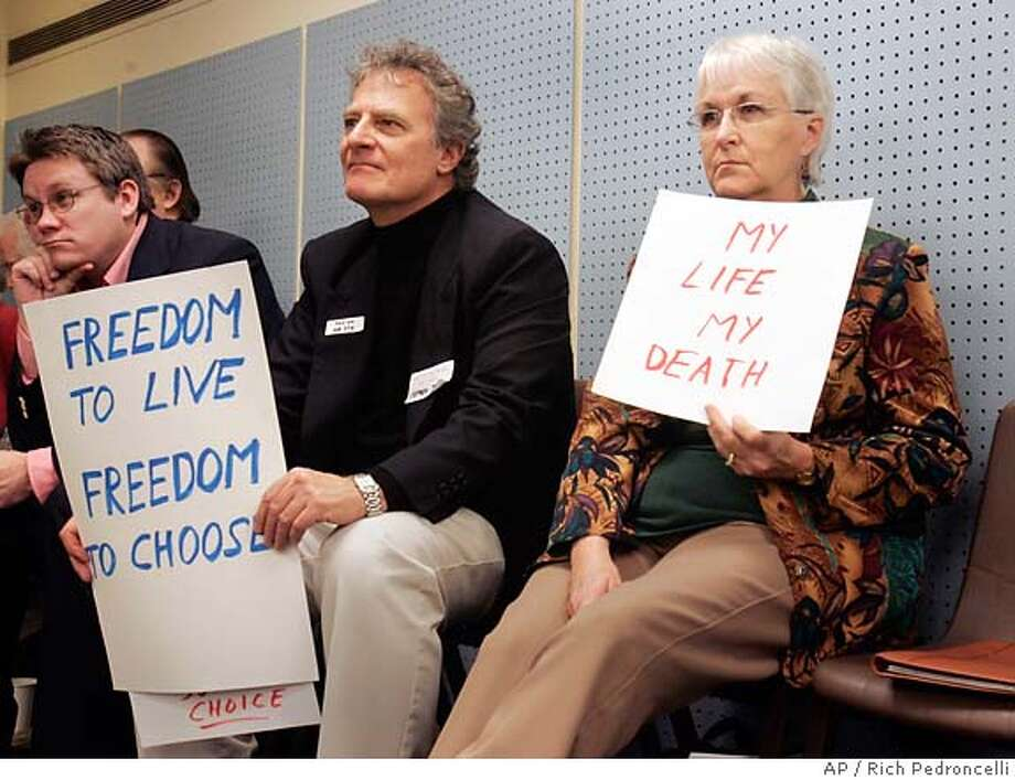 "Advocates of assisted suicide support a new bill in February during a Capitol news conference in Sacramento. Others argue that the matter of ""choice"" will not be confined to the terminally ill. Associated Press photo by Rich Pedroncelli"