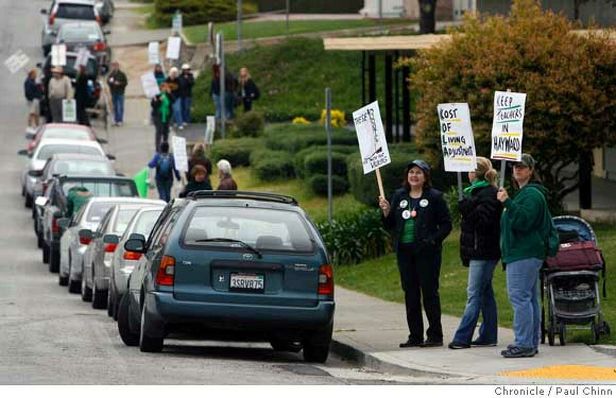 Teachers walk a picket line at Hayward High School on the first day of a teachers' strike in Hayward, Calif. on Thursday, April 5, 2007. PAUL CHINN/The Chronicle