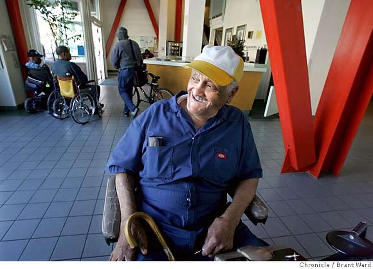 earthquake037_ward.jpg Mr. Hatch spends a good deal of time in the expansive lobby of the San Pablo, which features striking red steel columns, a reminder of seismic upgrading. Andrew F. Hatch will soon turn 107 years old. He has lived through two major earthquakes in the Bay Area and remembers them. After the 1989 quake, he moved to the San Pablo Hotel in Oakland. This is a remarkable, affordable senior-housing community that serves Oakland seniors well. Brant Ward 9/28/05