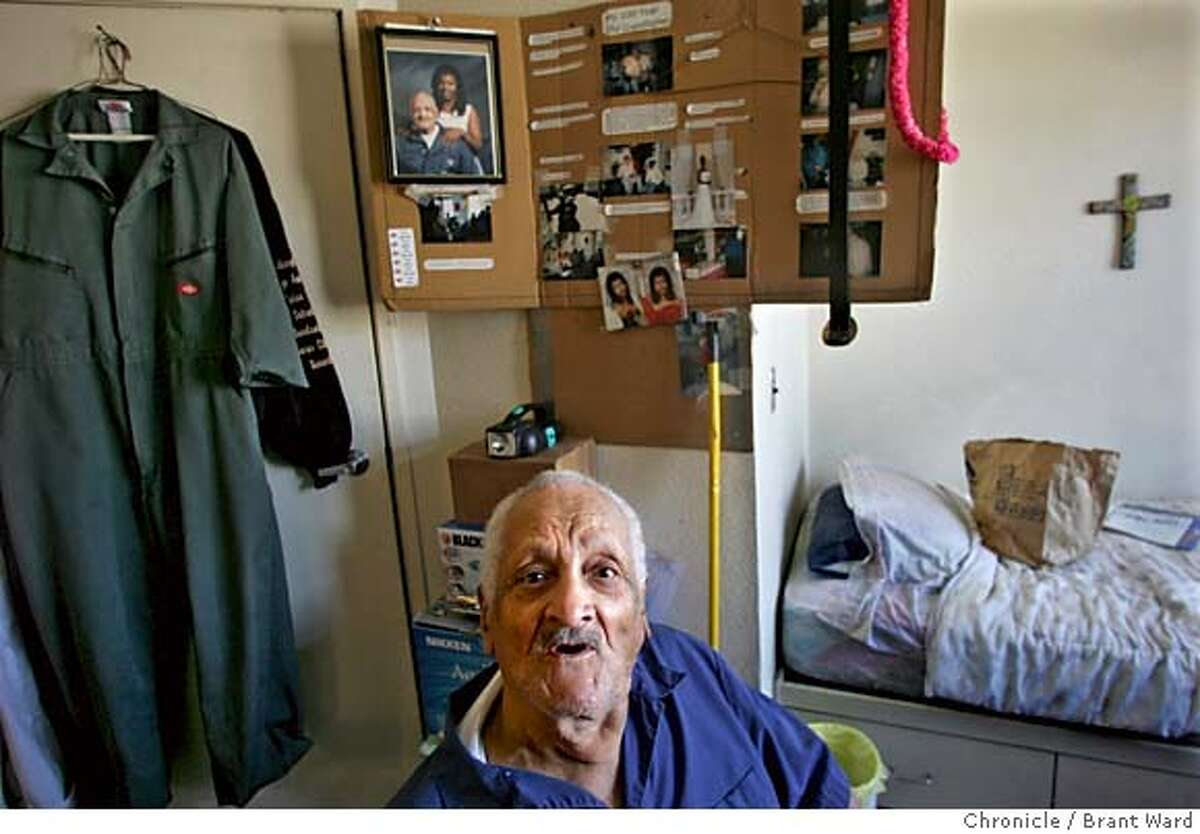 earthquake031_ward.jpg Mr. Hatch lives in a tidy studio apartment at the San Pablo Hotel surrounded by pictures of his family. and a large cross over his bed. Andrew F. Hatch will soon turn 107 years old. He has lived through two major earthquakes in the Bay Area and remembers them. After the 1989 quake, he moved to the San Pablo Hotel in Oakland. This is a remarkable, affordable senior-housing community that serves Oakland seniors well. Brant Ward 9/28/05