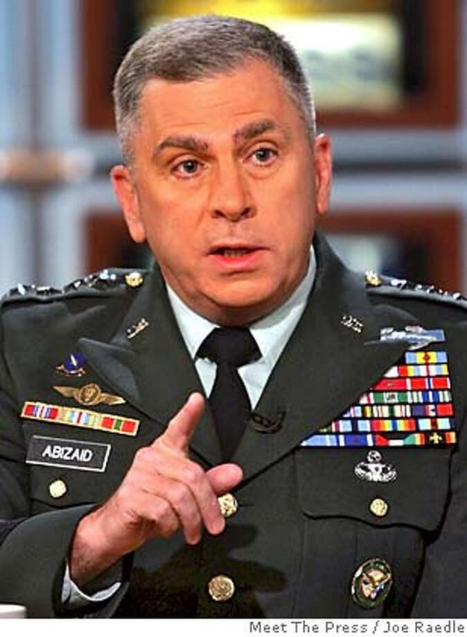 """In this photograph provided by """"Meet the Press,"""" Gen. John Abizaid, Commander, U.S. Central Command, speaks on NBC's """"Meet the Press"""" Sunday, Oct. 2, 2005, in Washington. (AP Photo/Meet The Press, Joe Raedle) ** , NO ARCHIVE, MUST USE BEFORE OCT. 9, 2005, MUST CREDIT """"MEET THE PRESS"""" ** , NO ARCHIVE, MUST USE BEFORE JULY 31, 2005, MUST CREDIT """"MEET THE PRESS"""" Photo: JOE RAEDLE"""