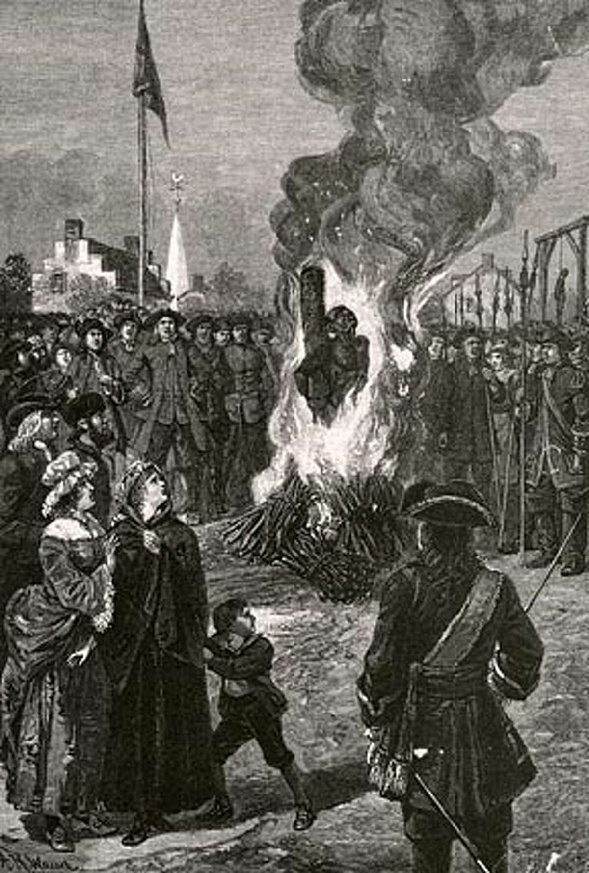 """""""Executing Negroes in New york"""" illustrates a slave being burned at the stake after the 1741 slave revolt."""