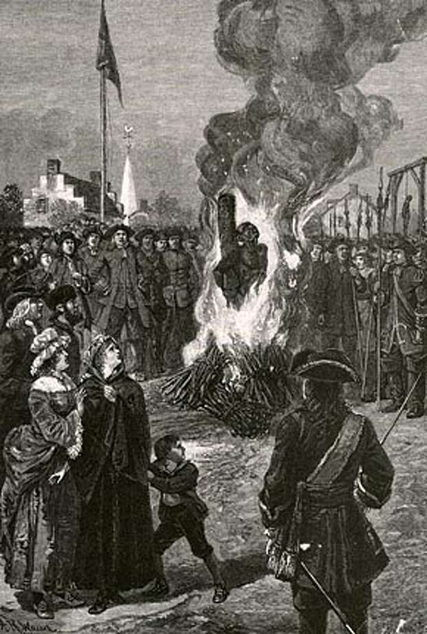 """""""Executing Negroes in New york"""" illustrates a slave being burned at the stake after the 1741 slave revolt. Photo: Chuck Leddy"""