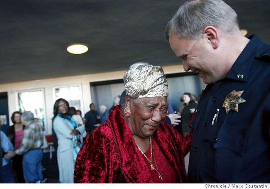 Richmond resident(she's lived there for 60 years) Mary Peace Head(left) and Richmond Police Chief Chris Magnus share a laugh at an event at the Richmond Civic Center addressing his one year anniversary as the chief.  From the photo request:  Richmond Police Chief Chris Magnus at an event this evening at 5 p.m. We are not writing a story off the event. Zamora will swing by and interview supporters. Budget line for story is below.  -- It's been 15 months since Chief Chris Magnus took over the Richmond Police Department. He's received plaudits from community activists, business leaders and others for his openness and take charge attitude. He won over many skeptics who wondered if a police chief from nearly all-white Fargo, North Dakota was right for the job. But Magnus has also been dogged by complaints of racial discrimination by senior African American officers that were in a lawsuit filed last month. We hang out with the Magnus, his supporters and his critics. 30 inches Photo assigned. photo taken on 3/28/07 ( Mark Costantini / The Chronicle ) Chris Magnus (cq)  Mary Peace Head (cq) MANDATORY CREDIT FOR PHOTOGRAPHER AND SAN FRANCISCO CHRONICLE/NO SALES-MAGS OUT Photo: Mark Costantini