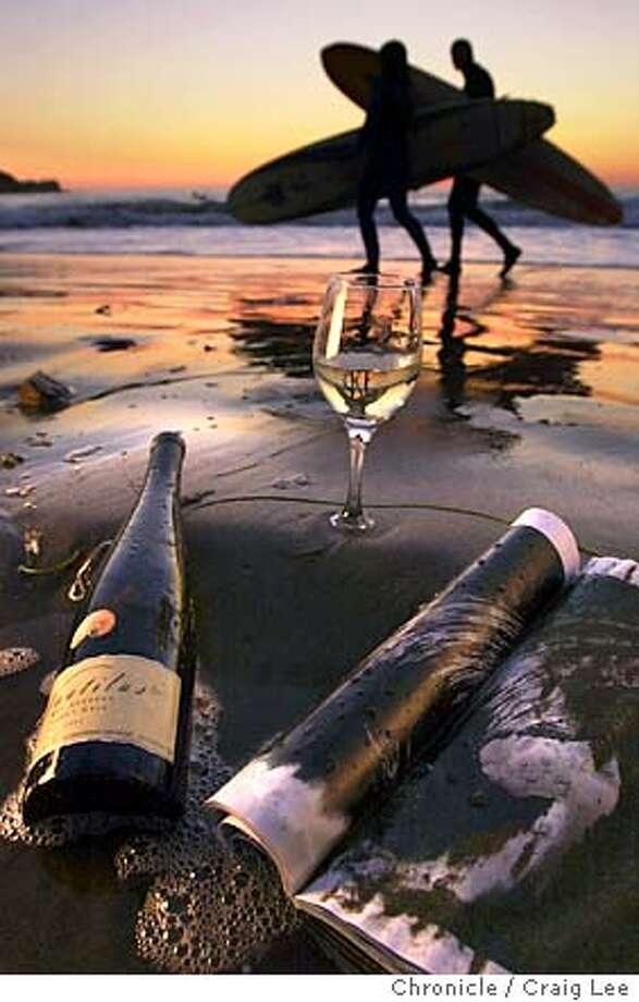 Photo illustration of summer white wines. This was photographed out at the beach in Pacifica.  Event on 6/25/03 in Pacifica. CRAIG LEE / The Chronicle Photo: CRAIG LEE