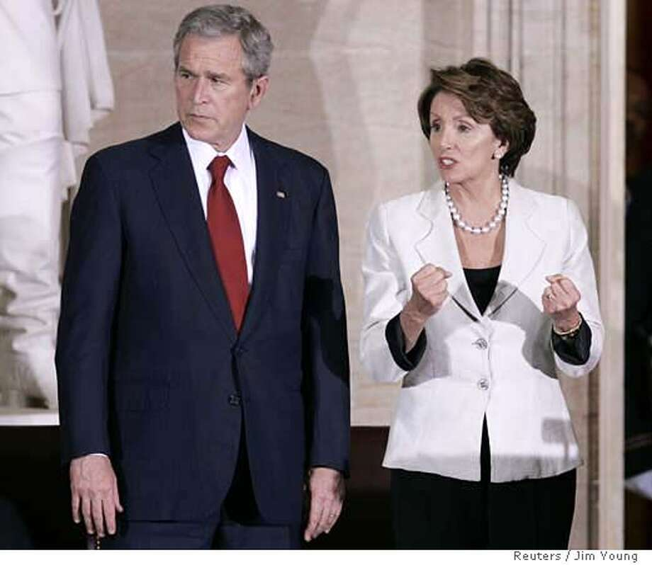 U.S. President George W. Bush (L) and Speaker of the House Nancy Pelosi (D-CA) take part in a Congressional Gold Medal Ceremony for the Tuskegee Airmen in the rotunda on Capitol Hill in Washington March 29, 2007. REUTERS/Jim Young (UNITED STATES) 0 Photo: JIM YOUNG