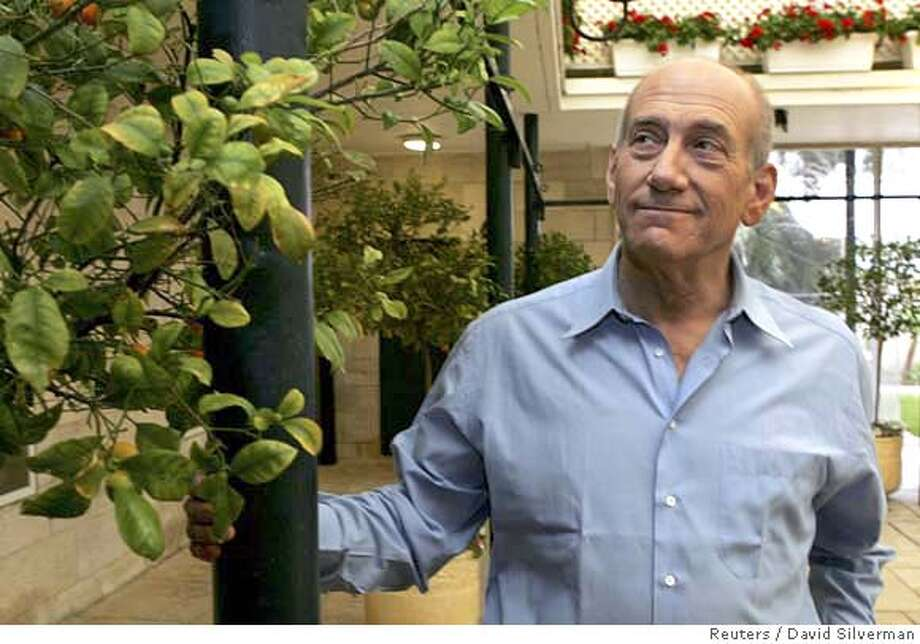 Israeli Prime Minister Ehud Olmert examines the clementine trees growing in the garden of his official residence in Jerusalem March 27, 2007. Olmert on Tuesday opened his house to the Israeli media to give the traditional pre-Passover interviews. Picture taken March 27, 2007. REUTERS/David Silverman/Pool (JERUSALEM) 0 Photo: POOL