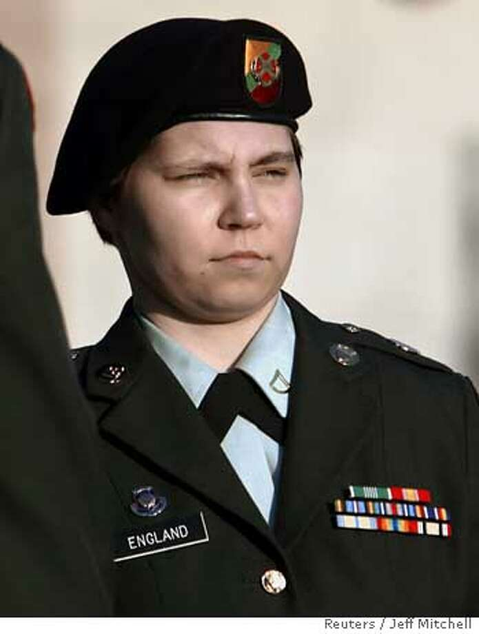 U.S. Army PFC Lynndie England leaves the courthouse at Fort Hood, Texas, September 26, 2005 after being convicted on charges stemming from her involvement in the Iraq Abu Ghraib prison scandal that surfaced last year. England faces up to 10 years in prison and will be formally sentenced on Tuesday. REUTERS/Jeff Mitchell Ran on: 09-27-2005  Pfc. Lynndie England, after her conviction at Fort Hood, Texas. Ran on: 09-27-2005  Pfc. Lynndie England, after her conviction at Fort Hood, Texas. Photo: JEFF MITCHELL