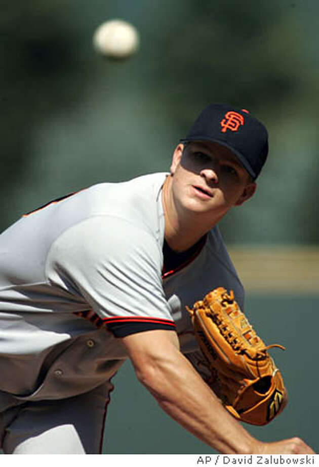 San Francisco Giants starting pitcher Matt Cain delivers a pitch to Colorado Rockies' Clint Barmes in the first inning in Denver on Sunday, Sept. 25, 2005. (AP Photo/David Zalubowski) Photo: DAVID ZALUBOWSKI