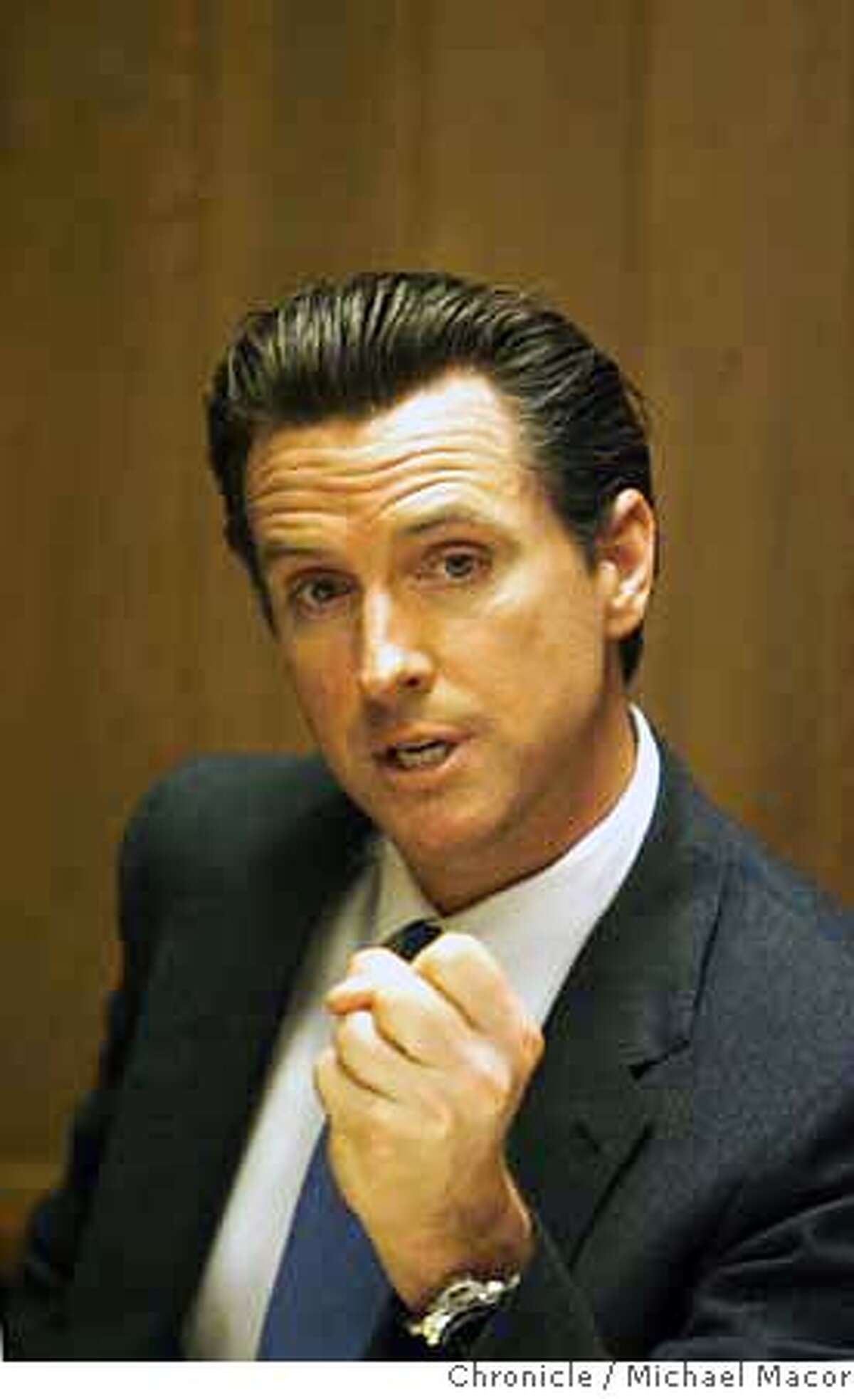 newsom_090_mac.jpg San Francisco Mayor Gavin Newson speaks with the editorial board of The Chronicle. Photographed in, San Francisco, Ca, on 3/27/07. Photo by: Michael Macor/ The Chronicle Mandatory credit for Photographer and San Francisco Chronicle No sales/ Magazines Out