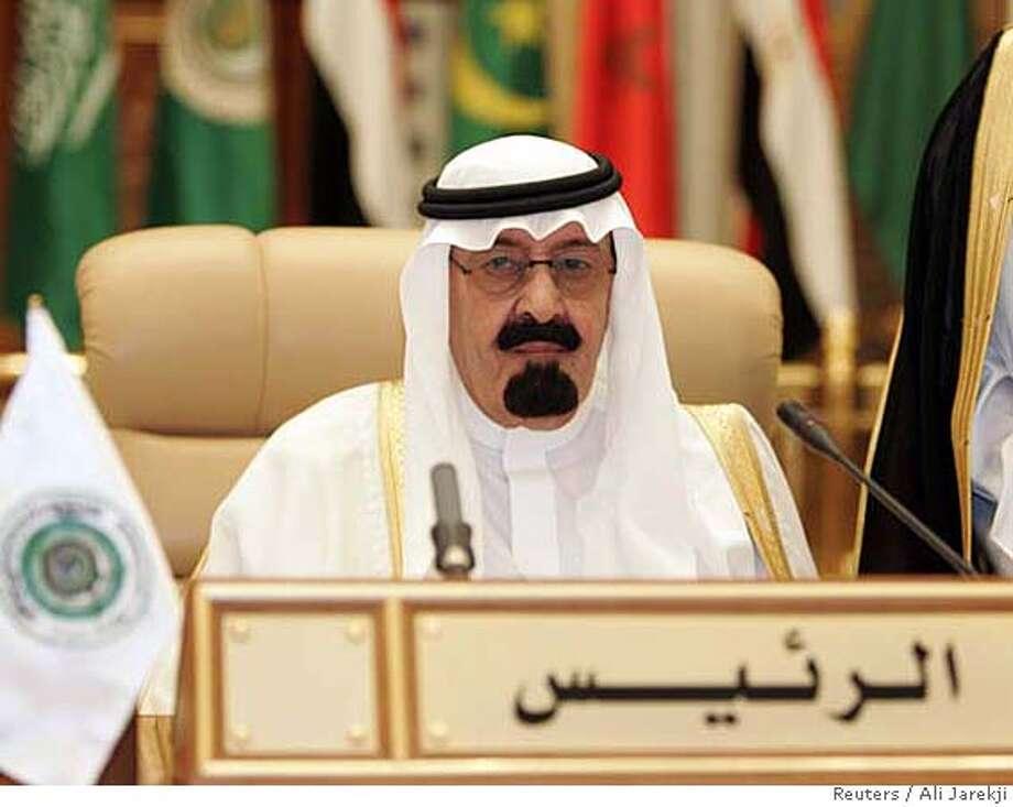 Saudi Arabia's King Abdullah attends the Arab summit in Riyadh March 29, 2007. REUTERS/Ali Jarekji (SAUDI ARABIA) 0 Photo: ALI JAREKJI