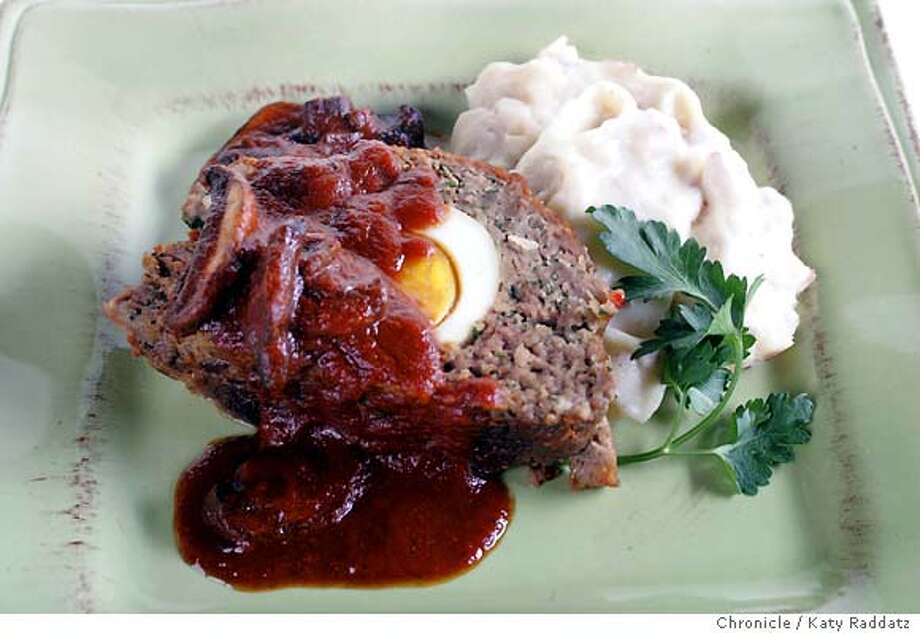 PAIRINGS30_030_RAD.jpg SHOWN: Meatloaf with a hardboiled egg inside it, and with a sauce, paired with a red wine. These pictures were made on Thursday, March 15, 2007, in San Francisco, CA.  (Katy Raddatz/The Chronicle) ** Mandatory credit for the photographer and the San Francisco Chronicle. No sales; mags out. Photo: Katy Raddatz