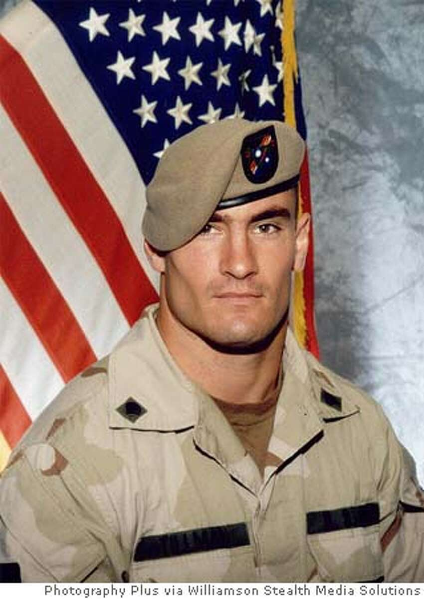 ** FILE ** Former Arizona Cardinals football player Pat Tillman, is shown in a June 2003 photo, released by Photography Plus. The New York Giants will face the Arizona Cardinals, Tillman's former team, when the NFL opens the 2005 season on Sept. 11, the first time pro football games have been played on that date since before the attacks. Tillman gave up a lucrative contract after the Sept. 11, 2001 terror attacks to join the Army with his brother, only to be killed in Afghanistan last year. (AP Photo/Photography Plus via Williamson Stealth Media Solutions) ** ADVANCE FOR WEEKEND EDITIONS, SEPT. 10-11** JUNE 2003 FILE PHOTO