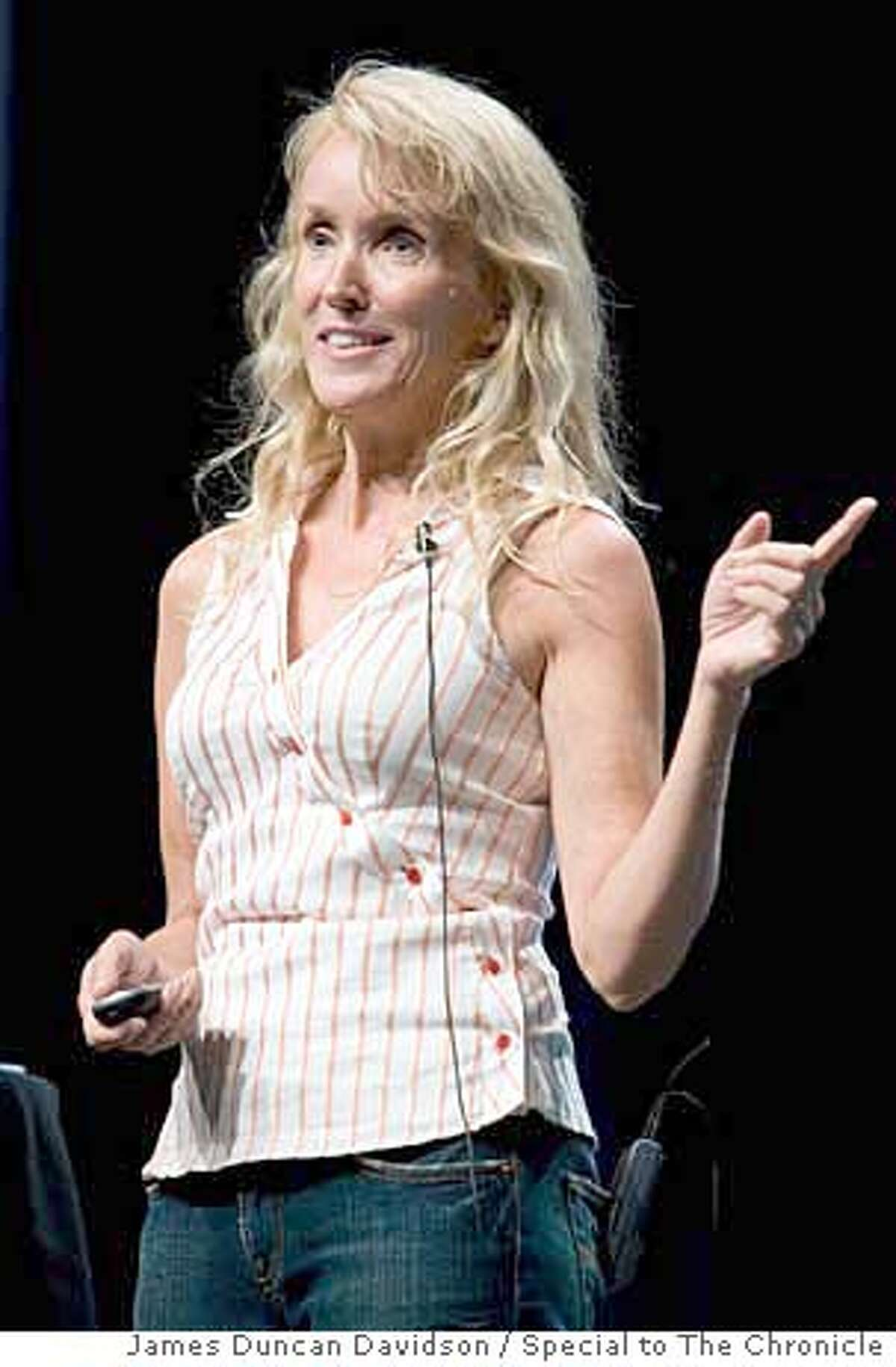 Kathy SIerra speaking at the 2006 O'Reilly Open Source Convention in Portland, Oregon. James Duncan Davidson/Special to The Chronicle