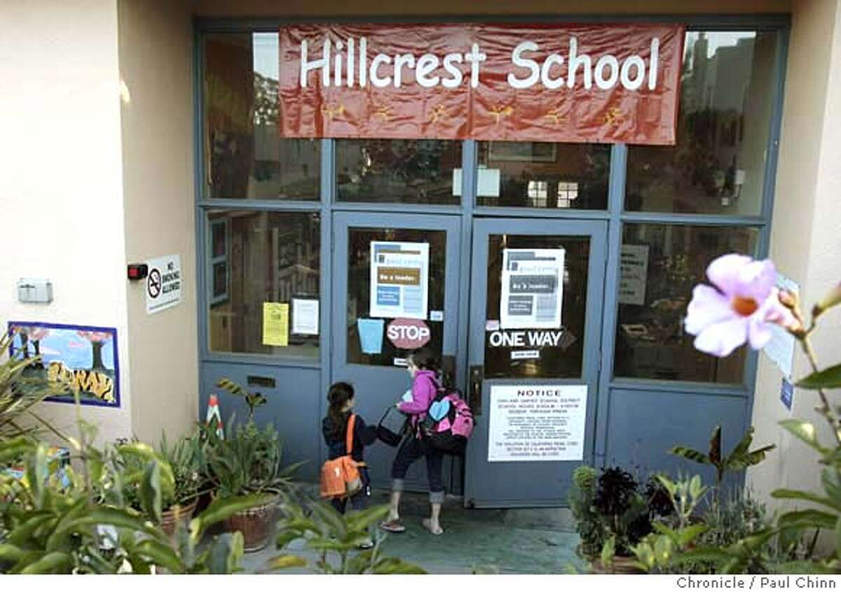 Grade school students arrive for a day of classes at Hillcrest School in Oakland, Calif. on Tuesday, March 27, 2007. Many prospective homeowners are willing to pay more for homes so their young children can enroll in schools with a high Academic Performance Index like Hillcrest, which boasts a rating of 951 out of a possible 1000. PAUL CHINN/The Chronicle MANDATORY CREDIT FOR PHOTOGRAPHER AND S.F. CHRONICLE/NO SALES - MAGS OUT