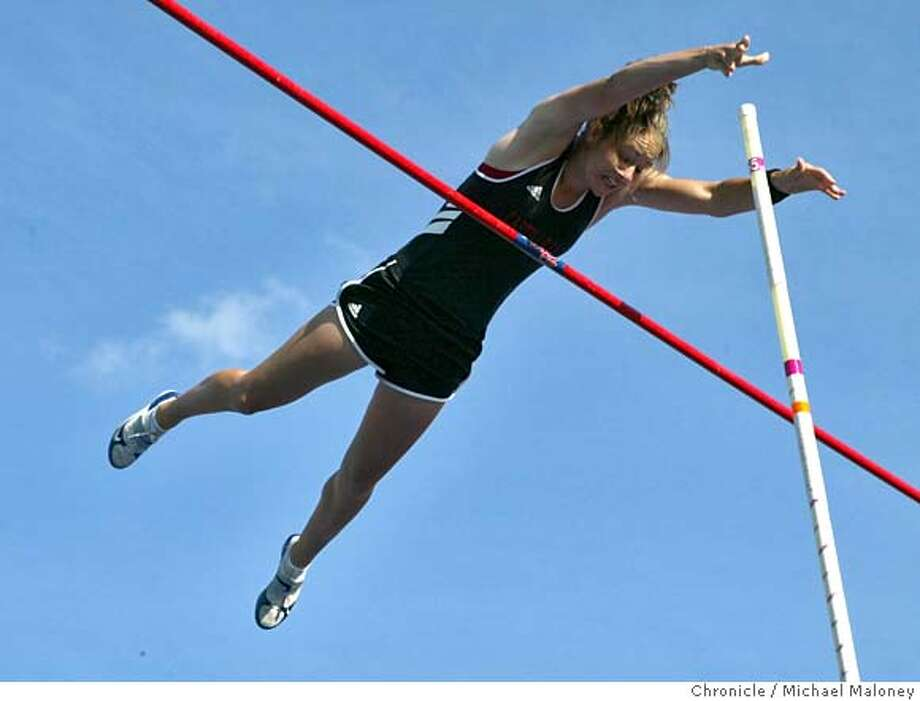 Tori Anthony of Castilleja High School clears 13 feet on this vault for a State Record.  High School athletes compete in the Central Coast Section track and field meet, a final qualifier for the State Meet. The competition was held at San Jose City College.  Photo by Michael Maloney / San Francisco Chronicle on 5/26/06 in San Jose,CA ** Tori Anthony (program)  Ran on: 05-27-2006  Tori Anthony of Castilleja High easily clears 13 feet in the pole vault during the Central Coast Section track and field meet at San Jose City College. For results, see SFGate.com.  Ran on: 05-27-2006 Ran on: 05-27-2006 MANDATORY CREDIT FOR PHOTOG AND SF CHRONICLE/NO SALES-MAGS OUT Photo: Michael Maloney
