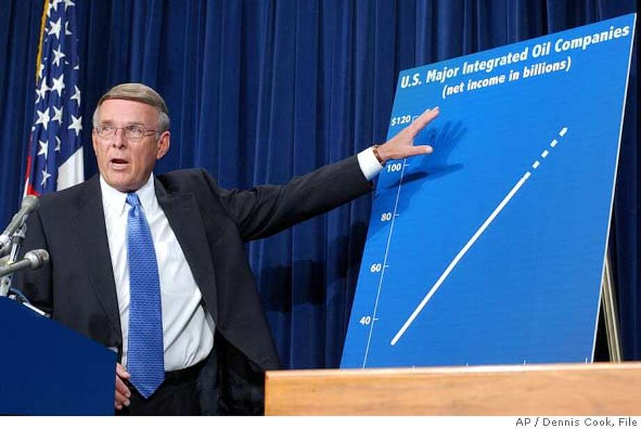 Sen. Byron Dorgan, D-N.D. discusses his plan to provide consumer rebates from increased oil company profits, during a news conference on Capitol Hill Wednesday, Sept. 7, 2005. (AP Photo/Dennis Cook) Photo: DENNIS COOK