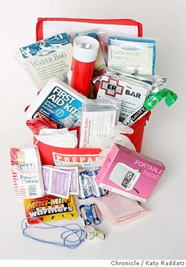 EARTHQUAKE24006_RAD.JPG Earthquake and disaster preparedness kits and their contents. Photo taken on 9/21/05, in San Francisco, CA.  By Katy Raddatz / The San Francisco Chronicle Photo: Katy Raddatz