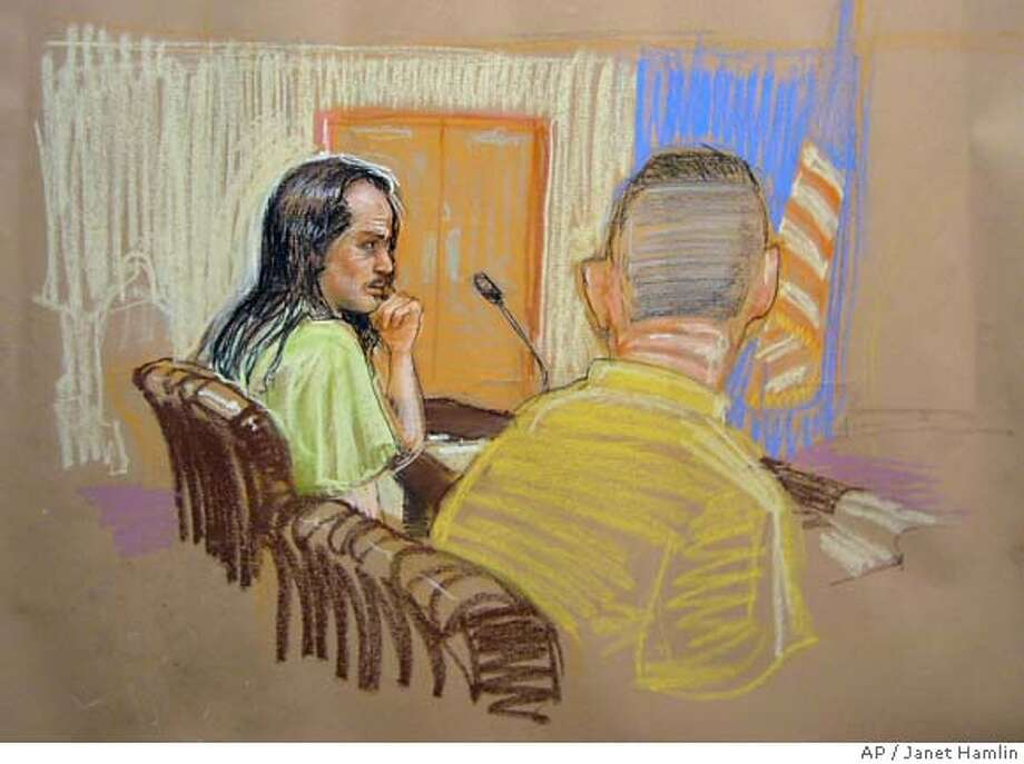 In this photograph of a drawing by AP sketch artist Janet Hamlin, reviewed by U.S. Military officials, detainee David Hicks, left, sits with his defense council in the U.S. military courtroom in Guantanamo Bay, Cuba, on Monday, March 26, 2007. Held at Guantanamo since 2002, Hicks is accused of attending al-Qaida training camps in Afghanistan and briefly fighting alongside the Taliban following the Sept. 11, 2001, attacks. (AP Photo/Janet Hamlin, Pool) POOL. EFE OUT. PHOTO HAS BEEN REVIEWED BY MILITARY OFFICIALS Photo: Janet Hamlin