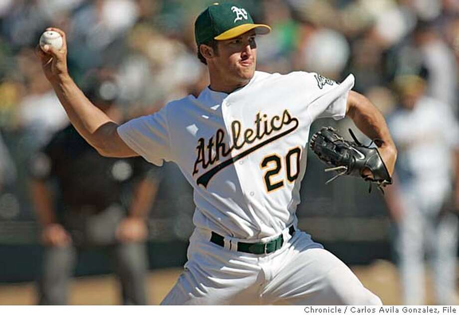 ATHLETICS_010_CG.JPG  Athletics' closer, Huston Street pitched two scoreless innings in the team's loss to the Royals. The Oakland Athletics played the Kansas City Royals at McAfee Coliseum in Oakland, Ca., on Sunday, August 21, 2005. Photo by Carlos Avila Gonzalez / The San Francisco Chronicle  Photo taken on 8/21/05, in Oakland,CA. Photo: Carlos Avila Gonzalez