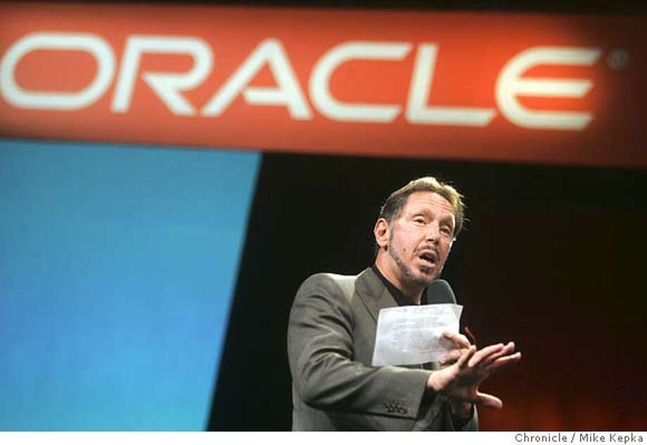 oracle22239_mk.JPG Oracle CEO, Larry Ellison gives his keynote speech to a full house at this year's Oracle OpenWorld convention at Moscone Center in San Francisco. 9/21/05 Mike Kepka / The Chronicle MANDATORY CREDIT FOR PHOTOG AND SF CHRONICLE/ -MAGS OUT Photo: Mike Kepka