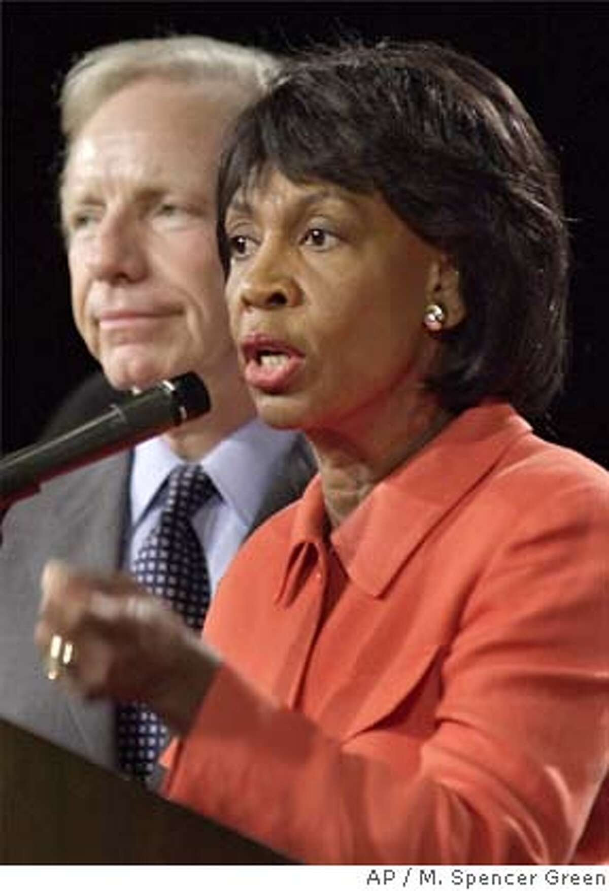 Democratic vice presidential hopeful Sen. Joseph Lieberman stands with Rep. Maxine Waters, D-Calif., as she addresses the Democratic National Committee's African-American Caucus Tuesday, August, 15, 2000, at the Democratic National Convention in Los Angeles. Lieberman spoke to the group and led them in singing happy birthday to the Waters.(AP Photo/M. Spencer Green) Ran on: 07-01-2005 Rep. Richard Pombo Ran on: 07-01-2005 Rep. Richard Pombo Ran on: 07-01-2005 Rep. Richard Pombo CAT
