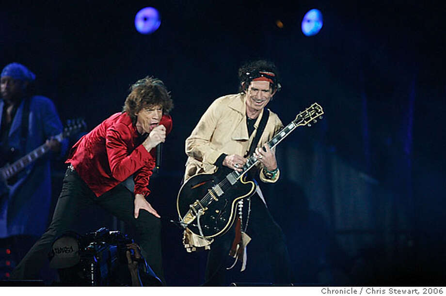 """stones08_0102_cs.jpg  The Rolling Stones, featuring Mick Jagger (left) and Keith Richards joined mates Ron Wood and Charlie Watts (not pictured), as they play """"It's Only Rock and Roll"""" at McAfee Coliseum in Oakland on their """"A Bigger Bang"""" tour tonight, November 6, 2006.  Chris Stewart / The Chronicle Ran on: 11-07-2006  Ran on: 11-07-2006 Ran on: 11-07-2006 Ran on: 03-25-2007  The Rolling Stones: as good as &quo;Casablanca&quo;? Photo: Chris Stewart"""